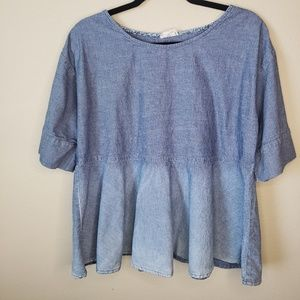 AG Adriano Goldschmied Chambray Peplum Top